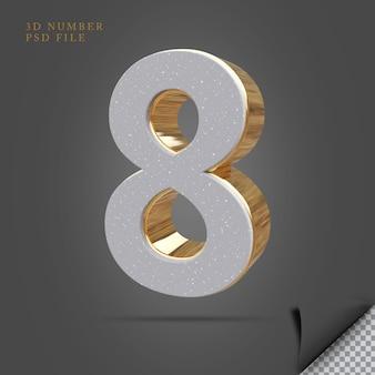 Número 8 3d render pedra com ouro