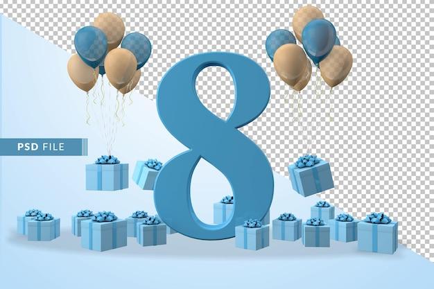 Número 8, caixa de presente azul para festa de aniversário balões amarelos e azuis