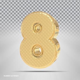 Número 8 com estilo 3d dourado