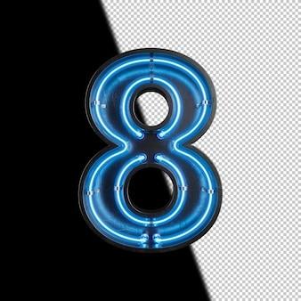 Número 8 feito de luz neon