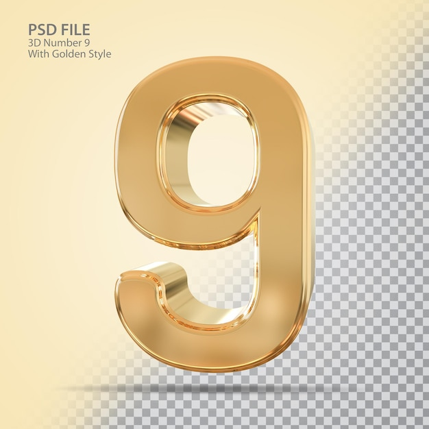 Número 9 3d com estilo dourado