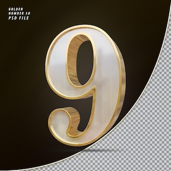 Número 9 3d luxo dourado