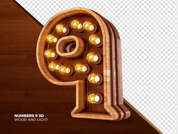 Número 9 3d render madeira com luzes realistas