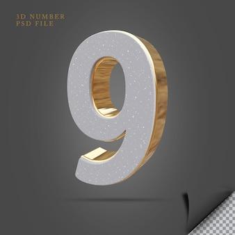 Número 9 3d render pedra com ouro
