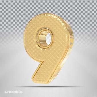 Número 9 com estilo 3d dourado