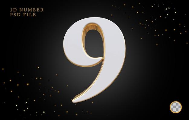 Número 9 com renderização 3d em estilo dourado