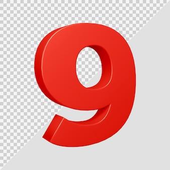 Número 9 em renderização 3d
