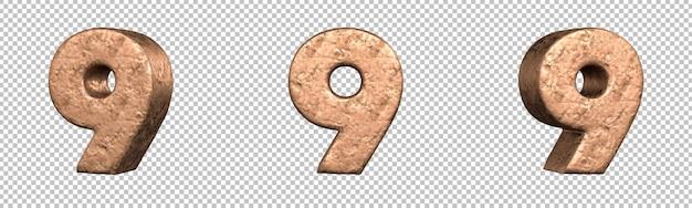 Número 9 (nove) do conjunto de coleta de números de cobre. isolado. renderização 3d