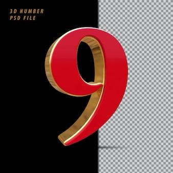 Número 9 vermelho com renderização 3d em estilo dourado