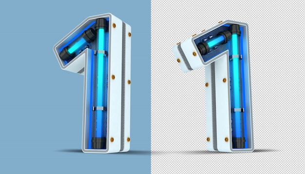 Número branco, luz neon, renderização 3d, ilustração