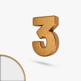 Número brilhante metálico dourado em renderização em 3d