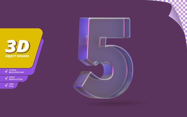 Número cinco, número 5 em renderização 3d isolado com ilustração de design de textura de cristal de vidro metálico abstrato