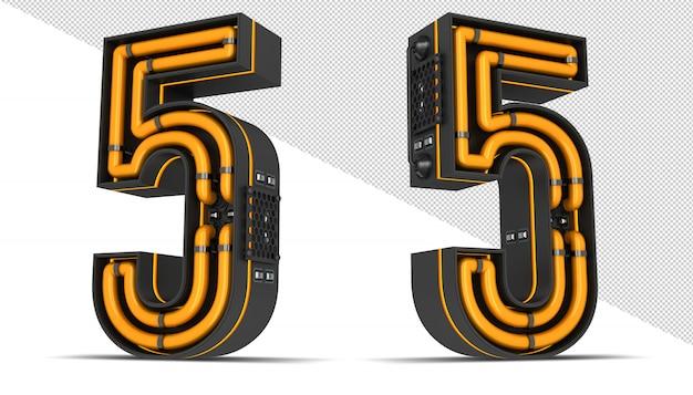 Número de ilustração de renderização 3d luz de neon