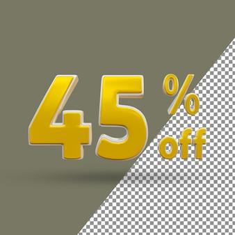 Número de texto dourado 3d com 45% de desconto