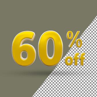 Número de texto dourado 3d com 60% de desconto