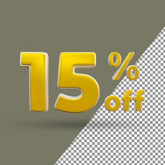 Número de texto ouro 3d com 15% de desconto