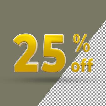 Número de texto ouro 3d com 25% de desconto