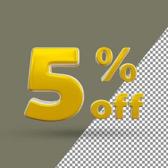 Número de texto ouro 3d com 5% de desconto