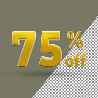 Número de texto ouro 3d com 75% de desconto