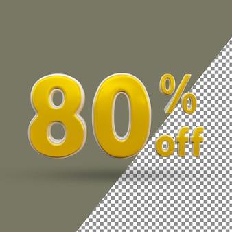 Número de texto ouro 3d com 80% de desconto
