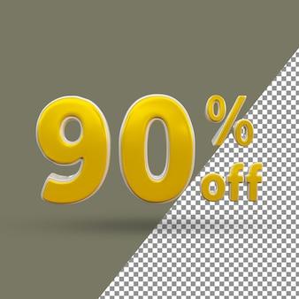 Número de texto ouro 3d com 9% de desconto