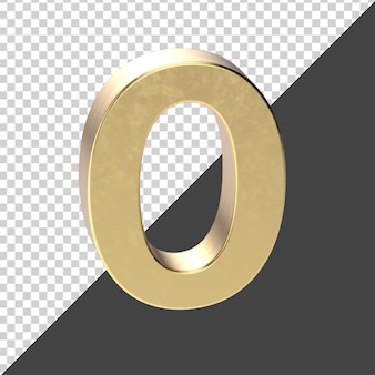 Número dourado 0 renderização em 3d