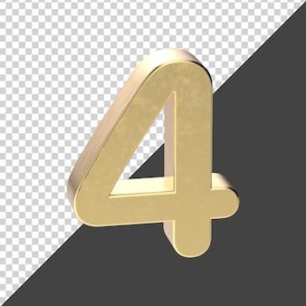 Número dourado 4 renderização em 3d
