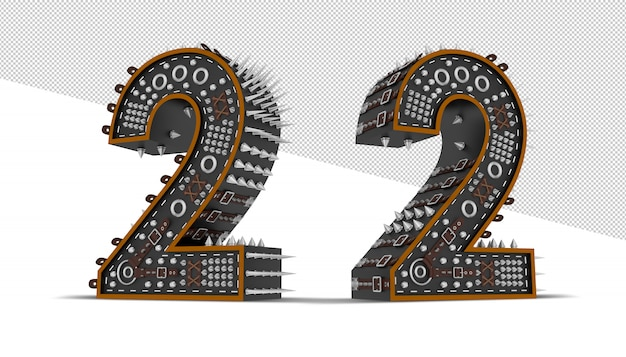 Número feito de engrenagens metálicas