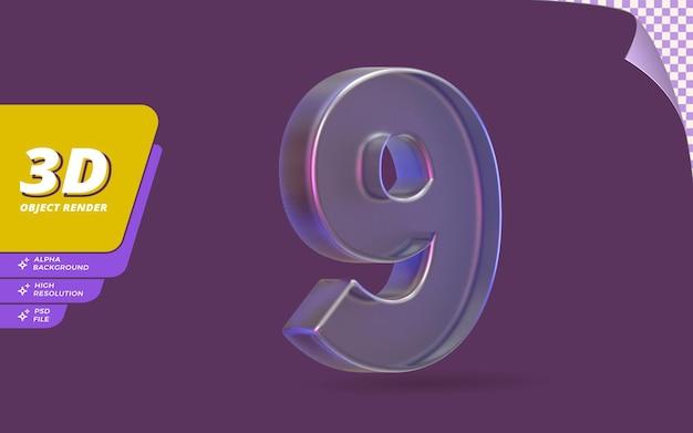 Número nove, número 9 em renderização 3d isolado com ilustração de design de textura de cristal de vidro metálico abstrato