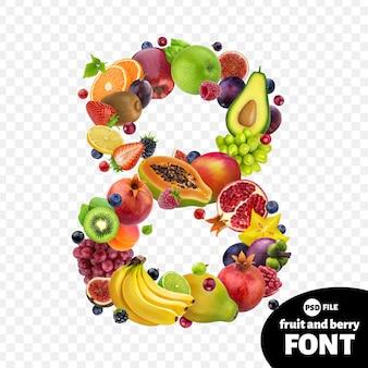 Número oito, feito com frutas