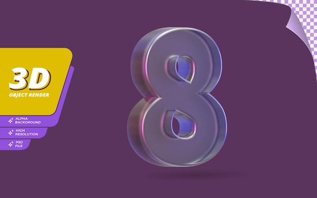 Número oito, número 8 em 3d render isolado com ilustração de design de textura de cristal de vidro metálico abstrato