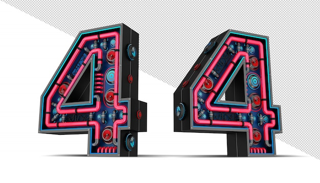 Número preto com ilustração vermelha e azul da rendição da luz de néon 3d.