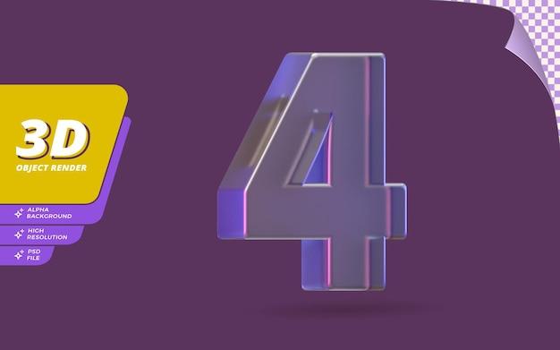Número quatro, número 4 em renderização 3d isolado com ilustração de design de textura de cristal de vidro metálico abstrato