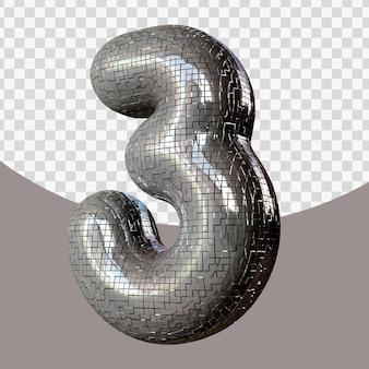 Número realista 3d isolado