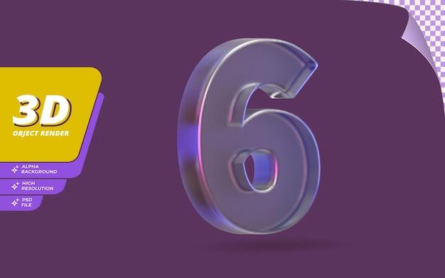 Número seis, número 6 em renderização 3d isolado com ilustração de design de textura de cristal de vidro metálico abstrato