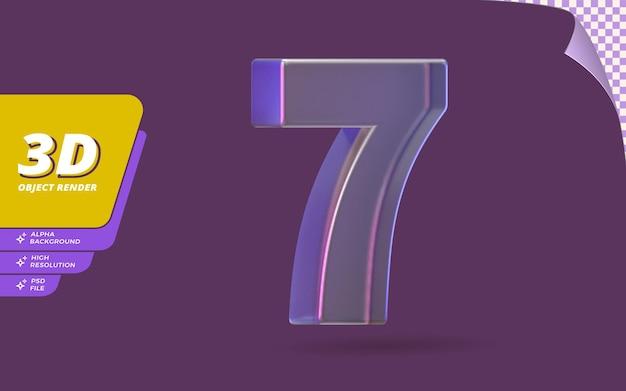 Número sete, número 7 em renderização 3d isolado com ilustração de design de textura de cristal de vidro metálico abstrato