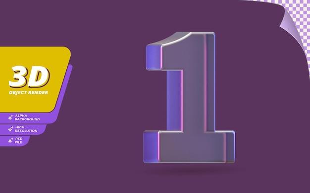 Número um, número 1 em renderização 3d isolado com ilustração de design de textura de cristal de vidro metálico abstrato