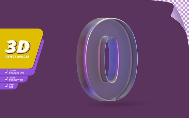 Número zero, número 0 em 3d render isolado com ilustração de design de textura de cristal de vidro metálico abstrato