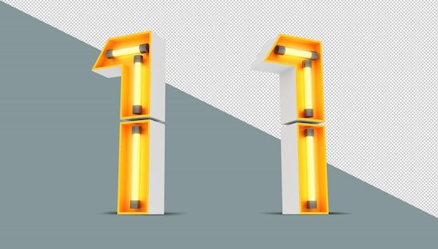 Números 3d com néons e efeito de luz neon