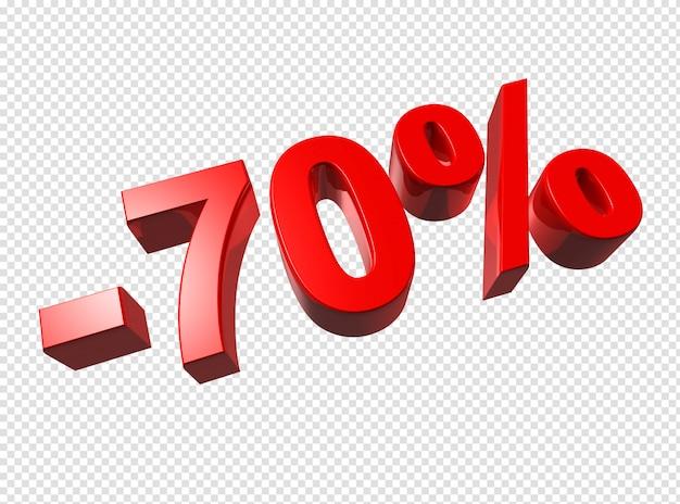 Números 3d de 70%