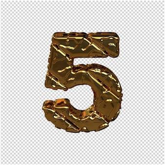 Números de ouro feitos de blocos diagonais ásperos. vista de cima. 3d número 5