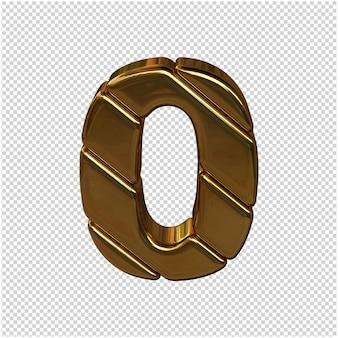 Números feitos de barras de ouro. 3d número 0