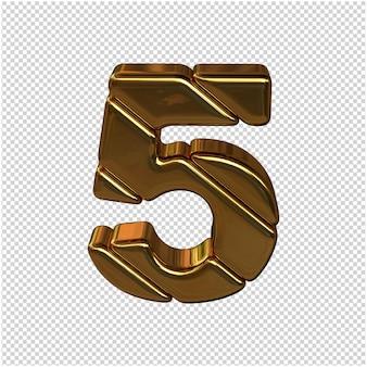 Números feitos de barras de ouro. 3d número 5
