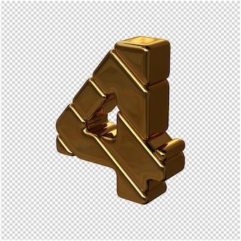 Números feitos de barras de ouro girados para a esquerda. 3d número 4