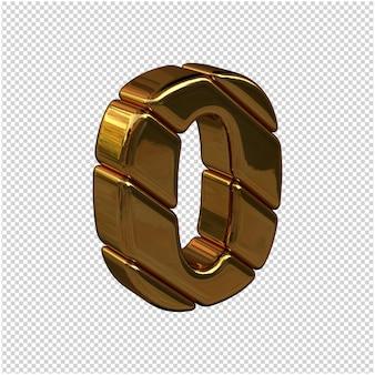 Números feitos de barras de ouro virados para a direita em um fundo transparente. 3d número 0