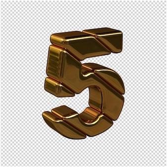 Números feitos de barras de ouro virados para a direita em um fundo transparente. 3d número 5