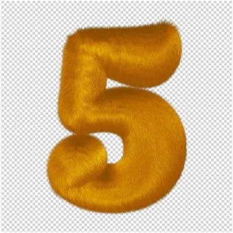 Números feitos de pele de gengibre. 3d número 5