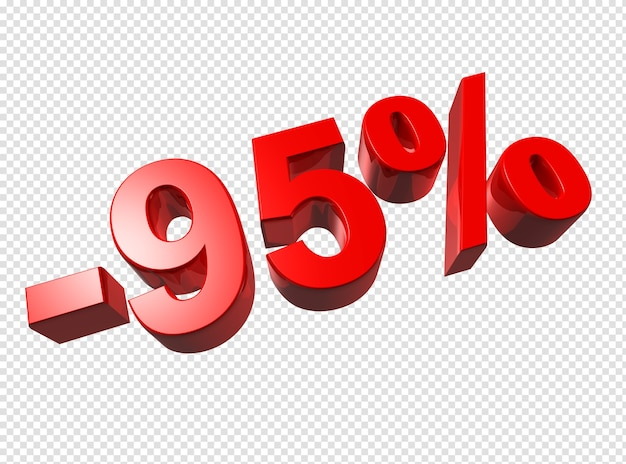 Números percentuais 3d isolados