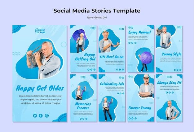 Nunca obtive o antigo modelo de histórias de mídia social