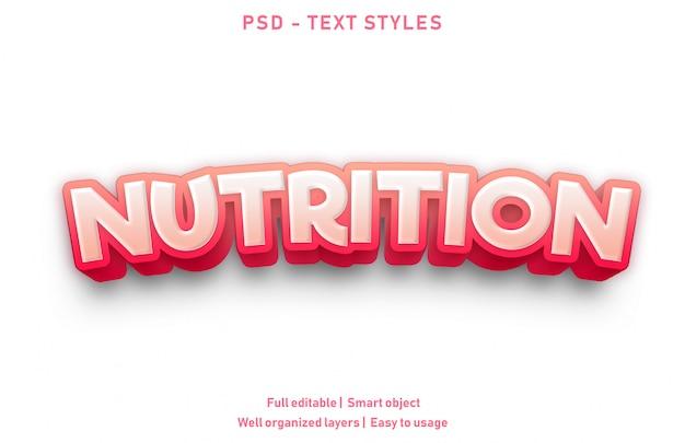 Nutrição efeitos de texto estilo premium editável